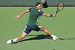 Grigor Dimitrov (BUL) defeated Hubert Hurkacz (POL) 3-6, 6-4, 7-6 (7-2), at the BNP Paribas Open being played at Indian Wells Tennis Garden in Indian Wells, California on October 14,2021: ©Karla Kinne/Tennisclix/CSM