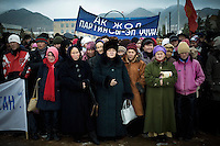 "A political rally for the President's party, Ak Jol (Bright Path), during the 2007 Parliamentary elections. The crowd is made up mostly of people working for the administration, who were strongly ""invited"" to attend the rally."