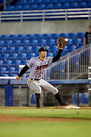 Jupiter Hammerheads second baseman Riley Mahan (2) receives a throw while covering first base during a game against the Dunedin Blue Jays on August 14, 2018 at Dunedin Stadium in Dunedin, Florida.  Jupiter defeated Dunedin 5-4 in 10 innings.  (Mike Janes/Four Seam Images)