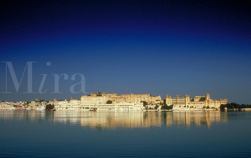 Palace, Udaipur (aka Mewar, Rajasthan), India. Panoramic view from across the lake. Udaipur, Rajasthan India Asia.