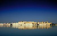 Palace, Udaipur (aka Mewar, Rajasthan), India. Panoramic view from across the lake. Udaipur, Rajasthan India Asia.