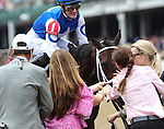 LOUISVILLE, KY - MAY 07: Tepin #1, ridden by Julien Leparoux, is congratulated after winning the Churchill Distaff Turf Mile on May 7, 2016 in Louisville, Kentucky. (Photo by Sue Kawczynski/Eclipse Sportswire/Getty Images)