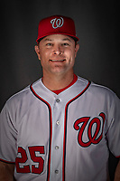 22 February 2019: Washington Nationals Assistant Hitting Coach Joe Dillon poses for his Photo Day portrait at the Ballpark of the Palm Beaches in West Palm Beach, Florida. Mandatory Credit: Ed Wolfstein Photo *** RAW (NEF) Image File Available ***