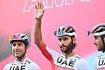 Fernando Gaviria (COL) UAE Team Emirates at sign on before the start of Stage 5 of the 103rd edition of the Giro d'Italia 2020 running 225km from Mileto to Camigliatello Silano, Sicily, Italy. 7th October 2020.  <br /> Picture: LaPresse/Massimo Paolone | Cyclefile<br /> <br /> All photos usage must carry mandatory copyright credit (© Cyclefile | LaPresse/Massimo Paolone)