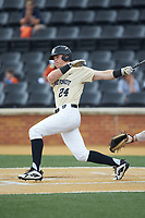 Chris Lanzilli (24) of the Wake Forest Demon Deacons follows through on his swing against the Virginia Cavaliers at David F. Couch Ballpark on May 19, 2018 in  Winston-Salem, North Carolina. The Demon Deacons defeated the Cavaliers 18-12. (Brian Westerholt/Four Seam Images)