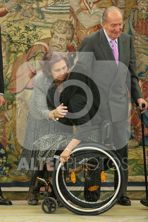 Spanish Royals, Queen Sofia of Spain and King Juan Carlos of Spain attend the Sports Merit Royal Order Great Cross award to paralympic swimmer Maria Teresa Perales at Zarzuela Palace in Madrid, Spain. April 01, 2014. (ALTERPHOTOS/Victor Blanco)