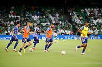 28th August 2021; Benito Villamarín Stadium, Seville, Spain, Spanish La Liga Football, Real Betis versus Real Madrid; Casemiro, Benzema and Valverde during warm up