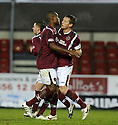 26/12/2009  Copyright  Pic : James Stewart.sct_jspa03_falkirk_v_hearts  .:: MICHAEL STEWART IS CONGRATULATED BY JOSE GONCALVES AFTER HE SCORES HEARTS FIRST FROM THE SPOT  :: .James Stewart Photography 19 Carronlea Drive, Falkirk. FK2 8DN      Vat Reg No. 607 6932 25.Telephone      : +44 (0)1324 570291 .Mobile              : +44 (0)7721 416997.E-mail  :  jim@jspa.co.uk.If you require further information then contact Jim Stewart on any of the numbers above.........
