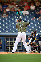 Nashville Sounds center fielder Kenny Wilson (11) at bat during a game against the New Orleans Baby Cakes on April 30, 2017 at First Tennessee Park in Nashville, Tennessee.  The game was postponed due to inclement weather in the fourth inning.  (Mike Janes/Four Seam Images)