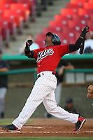 July 30 2008: Carlos Triunfel of the High Desert Mavericks bats against the Lake Elsinore Storm at Mavericks Stadium in Adelanto,CA.  Photo by Larry Goren/Four Seam Images