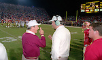 Bobby Bowden talks as time runs out when his Florida State Seminoles defeated the Florida Gators 45-30 at Doak Campbell Stadium in Tallahassee, Florida December 1, 1990. (Mark Wallheiser/TallahasseeStock.com)