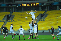 South's Mitchell Dunshea taps down lineout ball during the rugby match between North and South at Sky Stadium in Wellington, New Zealand on Saturday, 5 September 2020. Photo: Dave Lintott / lintottphoto.co.nz