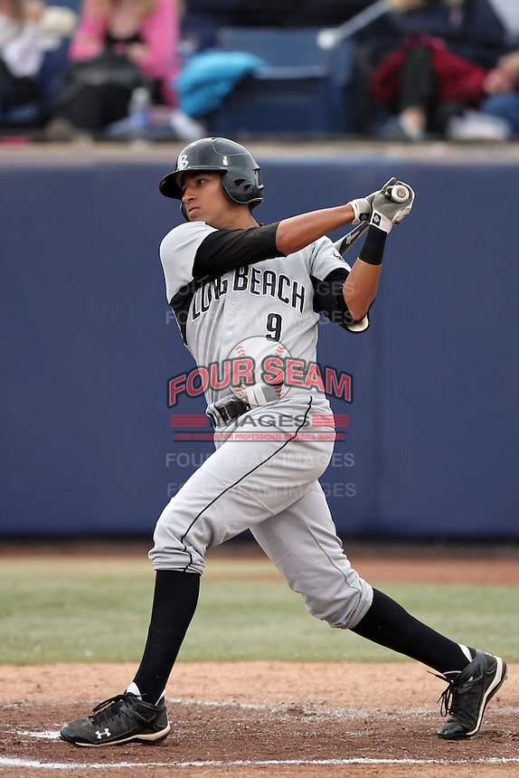 Juan Availa #9 of the Long Beach St. 49'ers bats against the Cal. St. Fullerton Titans at Goodwin Field in Fullerton,California on May 14, 2011. Photo by Larry Goren/Four Seam Images