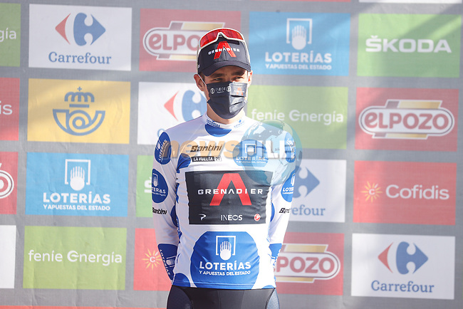 Pavel Sivakov (RUS) Ineos Grenadiers takes over the mountains Polka Dot Jersey at the end of Stage 7 of La Vuelta d'Espana 2021, running 152km from Gandia to Balcon de Alicante, Spain. 20th August 2021.     <br /> Picture: Luis Angel Gomez/Photogomezsport | Cyclefile<br /> <br /> All photos usage must carry mandatory copyright credit (© Cyclefile | Luis Angel Gomez/Photogomezsport)