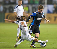 CARSON, CA – August 20, 2011: LA Galaxy defender Frankie Hejduk (6) and San Jose Earthquake midfielder Bobby Convey (11) during the match between LA Galaxy and San Jose Earthquakes at the Home Depot Center in Carson, California. Final score LA Galaxy 2, San Jose Earthquakes 0.