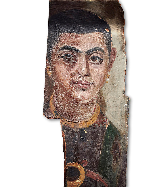 Egyptian Roman mummy portrait or Fayum mummy portrait painted panel of a man, Roman Period, 1st to 3rd cent AD, Egypt. Egyptian Museum, Turin. White background.<br /> <br /> Mummy portraits or Fayum mummy portraits (also Faiyum mummy portraits) are a type of naturalistic painted portrait on wooden boards attached to Upper class mummies from Roman Egypt. They belong to the tradition of panel painting, one of the most highly regarded forms of art in the Classical world. he portraits covered the faces of bodies that were mummified for burial. Extant examples indicate that they were mounted into the bands of cloth that were used to wrap the bodies.