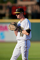 Bradenton Marauders first baseman Michael Gretler (10) during a Florida State League game against the Fort Myers Miracle on April 23, 2019 at LECOM Park in Bradenton, Florida.  Fort Myers defeated Bradenton 2-1.  (Mike Janes/Four Seam Images)