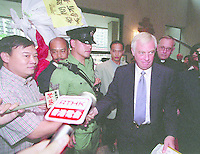 Chris Patten,  Hong Kong's  last Governor, does one his walk a bouts in a housing area in Kowloon 1996.  Patten returned to the UK at midnight when the former British territory was returned to China 1st July 1997, and became officially Hong Kong, The Spacial Administrative Region of the Peropl's Republic of China.