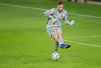 CARSON, CA - OCTOBER 28: Marko Maric  #1 of the Houston Dynamo passes off a ball during a game between Houston Dynamo and Los Angeles FC at Banc of California Stadium on October 28, 2020 in Carson, California.