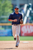 Pawtucket Red Sox second baseman Ivan De Jesus Jr. (13) jogs off the field during a game against the Buffalo Bisons on June 28, 2018 at Coca-Cola Field in Buffalo, New York.  Buffalo defeated Pawtucket 8-1.  (Mike Janes/Four Seam Images)