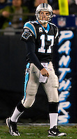Carolina Panthers quarterback Jake Delhomme (17) walks off the field against the Arizona Cardinals during the NFC Divisional Playoff football game at Bank of America Stadium, in Charlotte, NC. Arizona defeated the Carolina Panthers 33-13.