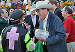 09 May 15: Terry Thompson and Larry Jones enjoy a moment in the winner's circle after Payton d'Oro wins the grade 2 Black-Eyed Susan Stakes at Pimlico Race Track in Baltimore, Maryland.