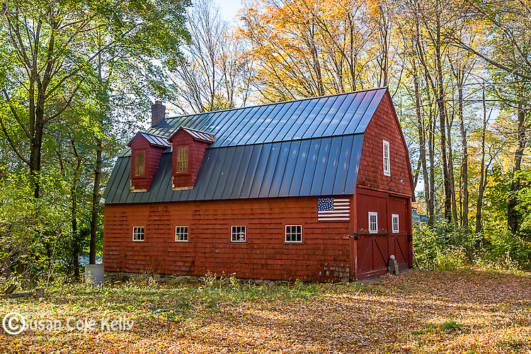 Red barn with a flag, Goshen, Litchfield Hills, CT