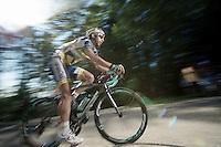 Thomas De Gendt (BEL) up the final climb to Annecy-Semnoz with a flat<br /> <br /> Tour de France 2013<br /> stage 20: Annecy to Annecy-Semnoz<br /> 125km