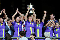 MichaelaStaniford of England holds up the Cup after winning the iRB Sevens Challenge Cup at Twickenham on Sunday 13th May 2012 (Photo by Rob Munro)