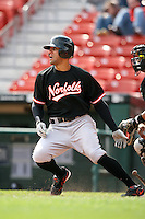 May 9, 2009:  Center Fielder Justin Christian of the Norfolk Tides, International League Class-AAA affiliate of the Baltimore Orioles, at bat during a game at Coca-Cola Field in Buffalo, FL.  Photo by:  Mike Janes/Four Seam Images