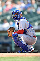 Buffalo Bisons catcher A.J. Jimenez (41) looks to the dugout during the first game of a doubleheader against the Rochester Red Wings on July 6, 2014 at Frontier Field in Rochester, New  York.  Rochester defeated Buffalo 6-1.  (Mike Janes/Four Seam Images)
