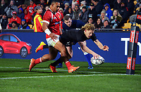 New Zealand's Damian McKenzie scores the first try during the Steinlager Series rugby match between the New Zealand All Blacks and Tonga at Mt Smart Stadium in Auckland, New Zealand on Saturday, 3 July 2021. Photo: Dave Lintott / lintottphoto.co.nz