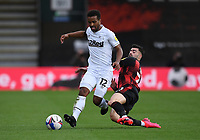 31st October 2020; Vitality Stadium, Bournemouth, Dorset, England; English Football League Championship Football, Bournemouth Athletic versus Derby County; Diego Rico of Bournemouth fouls Nathan Byrne of Derby County