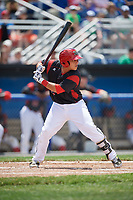Batavia Muckdogs catcher Bryan De La Rosa (15) at bat during a game against the West Virginia Black Bears on June 25, 2017 at Dwyer Stadium in Batavia, New York.  West Virginia defeated Batavia 6-4 in the completion of the game started on June 24th.  (Mike Janes/Four Seam Images)