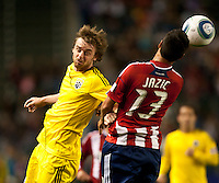 CARSON, CA – APRIL 9, 2011: Columbus Crew midfielder Eddie Gaven (12) heads the ball during the match between Chivas USA and Columbus Crew at the Home Depot Center, April 9, 2011 in Carson, California. Final score Chivas USA 0, Columbus Crew 0.