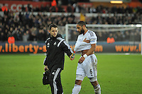 SWANSEA, WALES - JANUARY 17:   of  during the Barclays Premier League match between Swansea City and Chelsea at Liberty Stadium on January 17, 2015 in Swansea, Wales.<br /> Swansea's captain Ashley Williams leaves the field with his arm in a sling