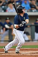 First baseman Dash Winningham (34) of the Columbia Fireflies hits in a game against the Lexington Legends on Friday, April 21, 2017, at Spirit Communications Park in Columbia, South Carolina. Columbia won, 5-0. (Tom Priddy/Four Seam Images)