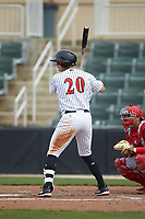 Tate Blackman (20) of the Kannapolis Intimidators at bat against the Lakewood BlueClaws at Kannapolis Intimidators Stadium on April 8, 2018 in Kannapolis, North Carolina.  The Intimidators defeated the BlueClaws 4-3 in game two of a double-header.  (Brian Westerholt/Four Seam Images)