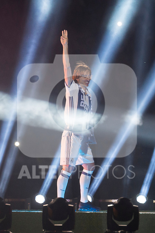 Real Madrid Luka Modric during the celebration of the 13th UEFA Championship at Santiago Bernabeu Stadium in Madrid, June 04, 2017. Spain.<br /> (ALTERPHOTOS/BorjaB.Hojas)