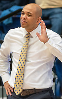 WASHINGTON, DC - JANUARY 5: Jamion Christian coach of George Washington after a play went wrong during a game between St. Bonaventure University and George Washington University at Charles E Smith Center on January 5, 2020 in Washington, DC.