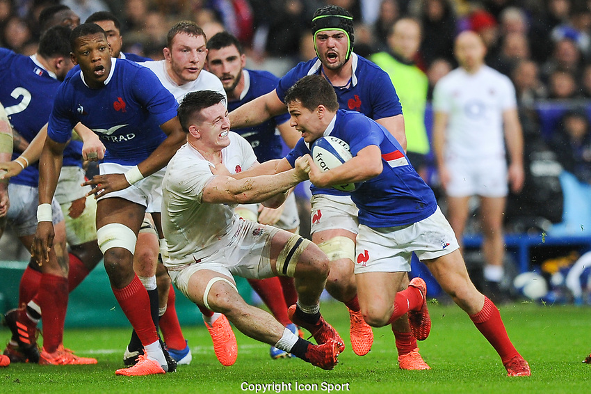 Tom CURRY of England and Antoine DUPONT of France during the Six Nations match Tournament between France and England at Stade de France on February 2, 2020 in Paris, France. (Photo by Sandra Ruhaut/Icon Sport) - Stade de France - Paris (France)