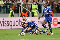 30th September 2021; Marshall Józef Piłsudski's Municipal Stadium, Warsaw, Poland: Europa League fooball, Legia Warsaw versus Leicester City; MAHIR EMRELI and LUKE THOMAS  go down in a challenge