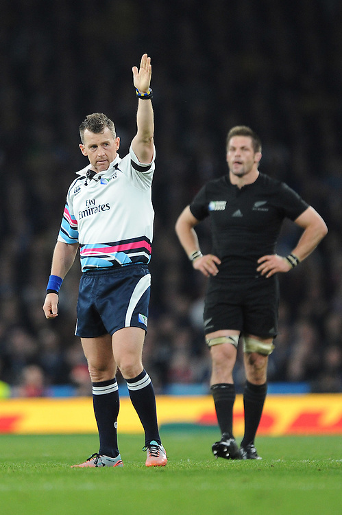 Referee Nigel Owens of Wales awards a penalty during the Rugby World Cup Final between New Zealand and Australia - 31/10/2015 - Twickenham Stadium, London<br /> Mandatory Credit: Rob Munro/Stewart Communications