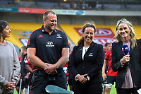 Crusaders 100-match centurion Joe Moody jokes with NZ Rugby's Farah Palmer after the Super Rugby Aotearoa match between the Hurricanes and Crusaders at Sky Stadium in Wellington, New Zealand on Sunday, 11 April 2020. Photo: Dave Lintott / lintottphoto.co.nz