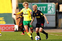 20th April 2021; Carrow Road, Norwich, Norfolk, England, English Football League Championship Football, Norwich versus Watford; Will Hughes of Watford is under pressure from Todd Cantwell of Norwich City