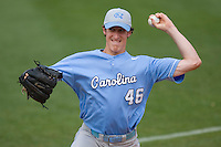 Brian Moran #46 of the North Carolina Tar Heels warms up in the bullpen at Durham Bulls Athletic Park May 23, 2009 in Durham, North Carolina. The Tigers defeated the Tar Heals 4-3 in 11 innings.  (Photo by Brian Westerholt / Four Seam Images)