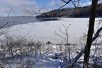 FROZEN COVE<br />A large cove on Beaver Lake west of Rocky Branch park is seen Tuesday Feb. 16 2021 partially frozen after a night of sub-zero temperatures. Several coves around the lake were frozen by the frigid weather. Go to nwaonline.com/212017Daily/ to see more photos. <br />(NWA Democrat-Gazette/Flip Putthoff)