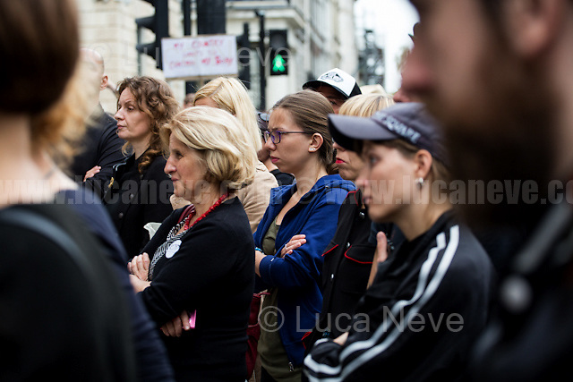London, 24/09/2016. Today, a demonstration was held outside the Polish Embassy in London to show support and solidarity with Irish Women (5th annual March for Choice) protesting against the 8th amendment of the Irish Constitution, which states that the abortion is legal only in case of immediate threat to woman's life because the life of the fetous is equal with the life of the mum. From the organiser Facebook page: <<In solidarity with women in Ireland and Poland, united with girls in Canada and Berlin, we gather at the Polish embassy to protest against the endless difficulties affecting personal freedom of female reproductive rights. We want to manifest our ceaseless anger caused by existing and planned deficits of current legal provision. We will do so by participating in speeches and performances. […] On the 24th of September Irish pro-choice groups are organizing the 5th annual March for Choice to protest Ireland's strict abortion law, recently declared by the UN as 'cruel, inhuman and degrading'. Due to the 8th amendment in the Irish constitution, which places the life of a foetus equal with the life of a woman, abortion is legal only if there is immediate threat to woman's life. Abortion is illegal even if women are pregnant as a result of rape, there is a threat to their health or the foetus has terminal abnormalities. Women who have an abortion in Ireland faces a prison sentence of 14 years. 4000 women travel every year abroad for abortions. According to the recent polls, 80% of the Irish society wants to repeal the amendment. Yet, the governments failed so far to call for a public referendum on the matter […]>>.<br /> <br /> For more information please click here: https://www.facebook.com/events/1057338030986466/