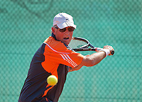Netherlands, Amstelveen, August 23, 2015, Tennis,  National Veteran Championships, NVK, TV de Kegel,  Men's final 75+, Peter Buter<br /> Photo: Tennisimages/Henk Koster