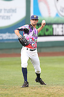 Matt Clancy (17) of the Everett AquaSox throws before a game against the Spokane Indians at Everett Memorial Stadium on July 25, 2015 in Everett, Washington. Spokane defeated Everett, 10-1. (Larry Goren/Four Seam Images)